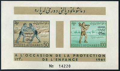 Afghanistan B41a sheet,hinged.Michel Bl.10. 1961.Wrestlers,Man with Indian clubs