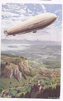 Germany 1934 5pf colour picture stationery card of zeppelin used