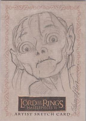 """Lord of the Rings Masterpieces II - Edward Pun """"Gollum"""" Sketch Card"""