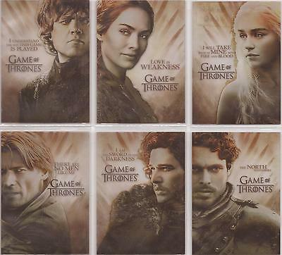 "Game of Thrones Season 2 - PL1-6 ""Gallery"" Set of 6 Chase Cards"