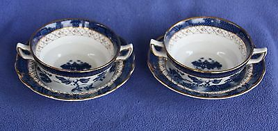 """Pair of Booths """"Real Old Willow"""" soups and saucers"""