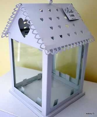 White Metal Birdcage Hanging Candle Holder With Heart Cutouts & Glass Inserts Bn