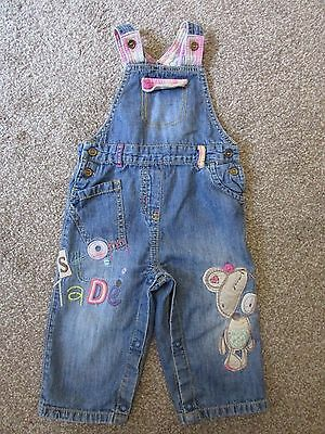 Very cute Next girls 9-12 months teddy bear dungarees - Excellent condition