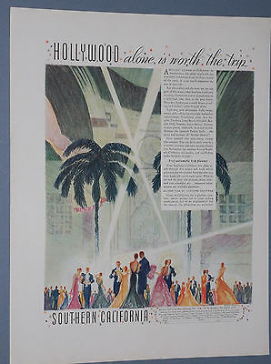 1935 Southern California Travel Ad Hollywood Movie Premiere