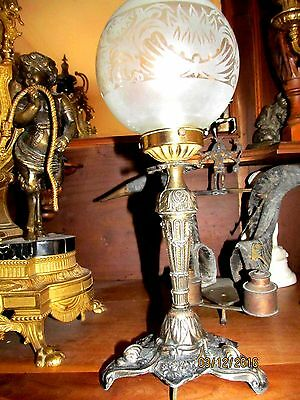 FRENCH SUPERB ANTIQUE CANDLE STICK CONVERTED TO ELECTRIC  c1850