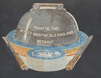 A2110 UK Victorian Folding Die Cut Advertising: Yorkshire Relish (on Willow Patt