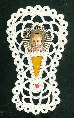 Paper Cutwork Bunting or Cradle w Christ Child with Pinprick Decoration c1900