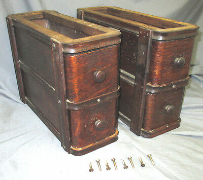 Pair Antique Oak Singer Treadle Sewing Machine Double Drawers 1910's 66 Red Eye