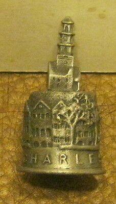 Detailed Solid Pewter Thimble CHARLESTON South Carolina EXCELLENT!!!!