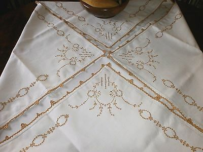 """Stunning Fresh White Vintage Linen Tablecloth~ Embroidered Cut Work~ 42""""sq."""
