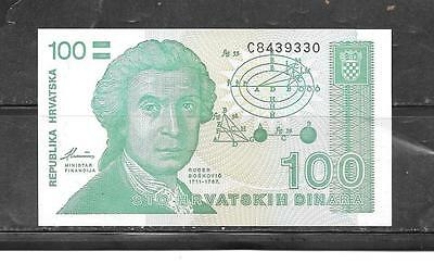 CROATIA #20a UNUSED 1991 OLD 100 DINARA BANKNOTE  BILL PAPER MONEY CURRENCY