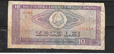 ROMANIA #94a 1966 VG USED OLD 10 LEI BANKNOTE BILL NOTE CURRENCY PAPER MONEY