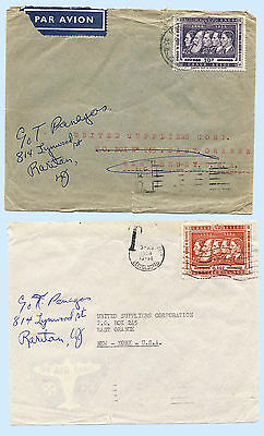 Belgian Congo 2 Covers 1958 Airmail & Postage Due Covers to New Jersey US 304-05
