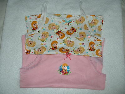 Two (2) Girls Lovely Disney Frozen Cami Vests Age 2-3 Years New
