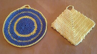 Two Vintage Pot Holders, Hot Pads, Hand Crocheted, Fan Design, Blue And Yellow