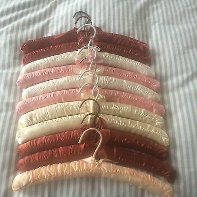 11 VTG Mid Century Padded Satin Hangers ~ Mixed Colors Maroon Pink White