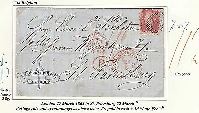 1862 ENTIRE LETTER GREAT BRITAIN TO RUSSIA PREPAID 11½d + 1d LATE FEE. VERY FINE