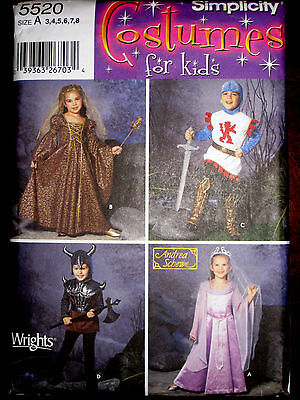 Simplicity Girls Boys Knight Medieval Princess Costume Sewing Pattern 5520 UC