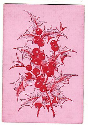 ANTIQUE SQUARE CORNER PINK MISTLETOE HOLLY BERRIES Single Vintage Playing Card