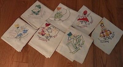 7 Vintage Embroidered Dish Towels Days of The Week Sunbonnet Sue Girls Chores