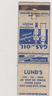 Lund's-Salt Lake City Matchbook Cover Free Shipping U.s