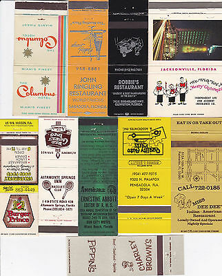 Lot Of 20 Different Florida Matchbook Covers.  #1