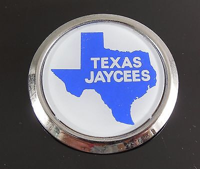 Vintage Texas Jaycees Round Pin With State Shape