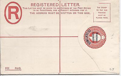 Morocco Agencies 1903 20c on 2d registered stationery size G type II env unused