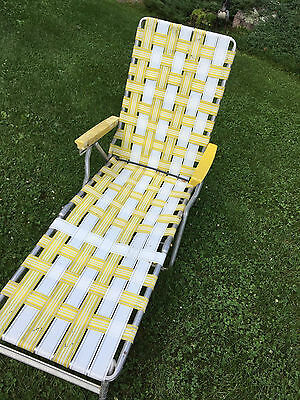 Vintage Reclining Aluminum Folding Webbed Chaise Lawn Chair Yellow White