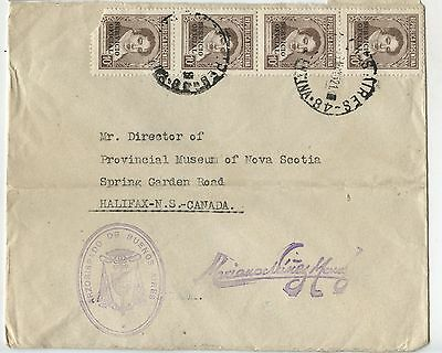 Old Vintage Postal Cover 1950's Official Argentina to Halifax NS