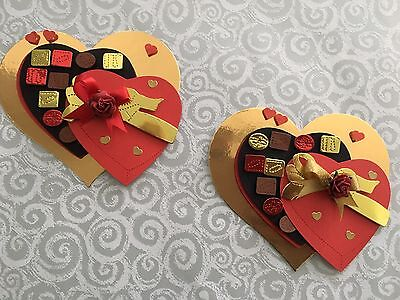 2 Chocolate Box  Heart Card Toppers