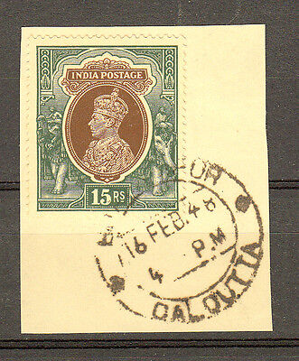 India 1937 Kgvi Definitive 15R Value Sc #166 Used On Piece Superb