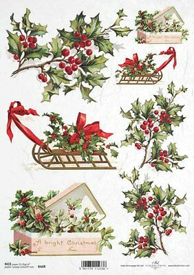 Rice Paper Decoupage Scrapbook Vintage Christmas Holly Sleighs Shabby Chic