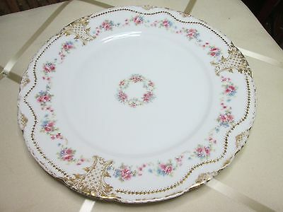 "Theodore Haviland Limoges Dinner Plate 10"" Pink Roses Gold Garland"