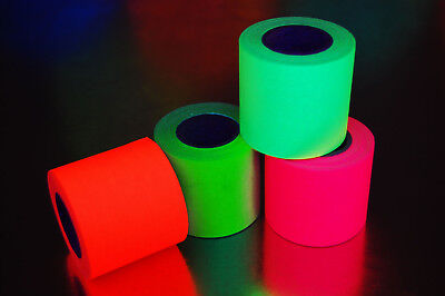 4 Pack 2 Inch UV Blacklight Reactive Fluorescent Gaffer Tape 4 Rolls x 6 Yards
