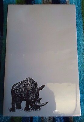 Rhino Rhinoceros Notepad 50 Sheets 8.5 x 5.5 New Black and White Drawing New