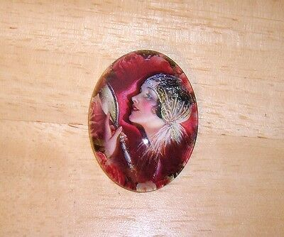 Glamour Girl & Mirror Glitter Unset Handmade Art Bubble Cameo Cabochon 30X40mm