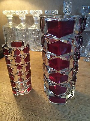 2 French  Ruby Red Clear Glass Vase Collection Signed