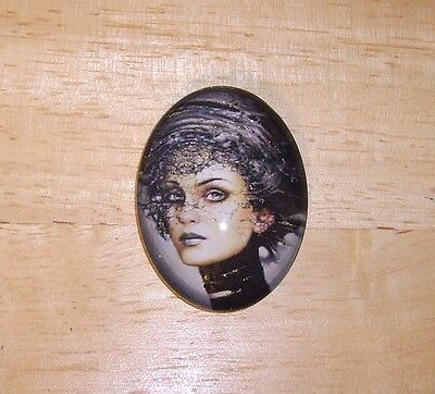 Fantasy Glamour Girl Glitter Unset Handmade Art Bubble Cameo Cabochon 30X40mm