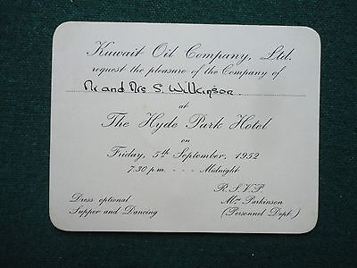 Antique Invitation Ticket to Supper & Dancing Kuwait Oil Co Ltd Hyde Park Hotel