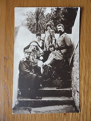 Antique Photographic Postcard of King Ferdinand Queen Marie of Romania & Family