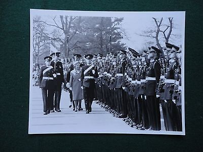 Antique Press Photo of Queen Elizabeth II Reviewing a Military Parade
