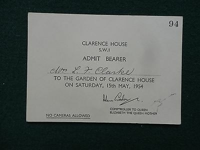 Antique Royal Ticket to Greet Queen Elizabeth Queen Mother from World Tour 1954