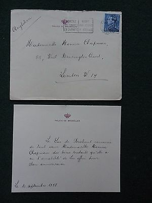 Birthday Thank You Card from King Baudouin of Belgium September 1938 & Envelope