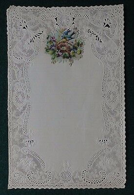 Antique Victorian Hand Made Lace Stationery Letter Featuring Easter Bird & Eggs