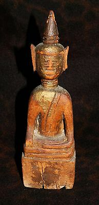"""Antique Primitive Peaceful Carved Wood Buddha - Armstrong Collection 10 1/4""""h"""