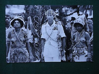 Fine Press Photo of Prince Charles in Papua New Guinea 1984 & Naked Women