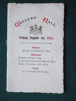Grocer's Hall London Programme of Vocal Music 01 August 1902