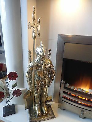 Stunning Rare Vintage Antique Solid Brass Knight Large Fireside Companion Set
