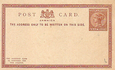 Jamaica  Queen Victoria Postal Stationery Return card